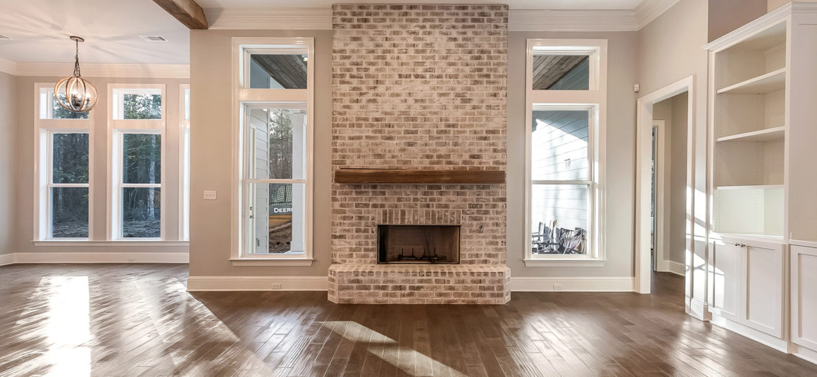 living with brick fireplace