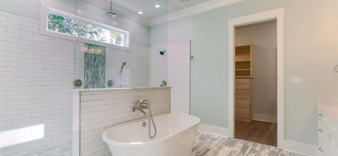 walk through shower in elegant master bath